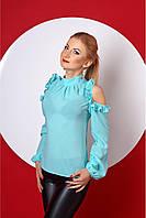 Блуза с воланами и вырезами на плечах (4 расцветки)