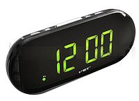 Часы сетевые 717-2 зеленые LO