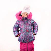 Теплые, легкие зимние термо комбинезоны для девочек р.86-110 до -20 мороза на наши зимы малиновый абстракция