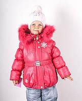Детские зимние термо комбинезоны для девочек р.86-110 до -20 мороза на наши зимы малиновый снежинка 2017