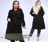 Кашемировое пальто 8140  с поясом R-11595 черный