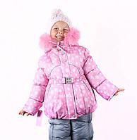 Детские зимние термо комбинезоны для девочек р.92-110 до -20 мороза наши зимы розовый в снежинки 2017