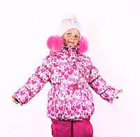 Детские зимние термо комбинезоны для девочек р.92-110 до -20 мороза на наши зимы розовый с малиновым сердечки