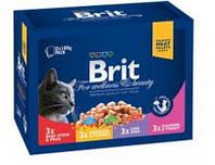 Brit Premium Cat pouch Семейная тарелка Ассорти 4 вкуса 1200 г