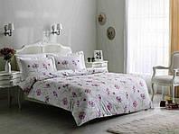 Постельное с узором из фиолетовых цветов Tivolyo Home Fresh евро