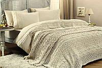 Постельное белье + вязанный плед Gelin Home SELIN Cream евро 220х240