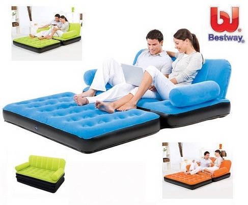 Надувной диван трансформер Bestway 67356 с насосом голубой, фото 2