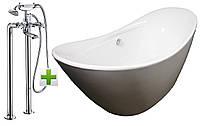 Ванна отдельно стоящая 1720*720*770 мм, акрил кристаллический + CUTHNA stribro смеситель для ванны