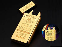 Запальничка USB імпульсна Lighters-JL688 Золотий злиток  Золотий