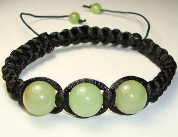 Плетеный браслет Оникс зеленый