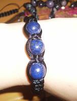 Плетеный браслет Лазурит