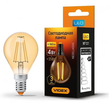 Лампа Videx Filament G45FA 4W E14 2200K 220V бронза