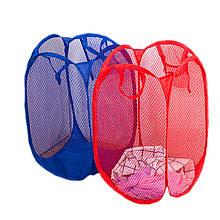 Корзина складная для белья/ игрушек прямоугольная сетка, красная