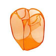 Корзина складная для белья/ игрушек прямоугольная сетка, оранжевая