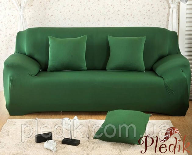 Чехол на диван HomyTex универсальный эластичный 3-х местный, зеленый