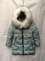 Полу-пальто зимнее детское с мехом для девочки4-8лет,ментоловый цвет