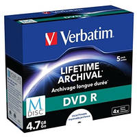 Диски DVD+R Verbatim 4.7 GB 4x Jewel Printable 5 шт (43821) (поштучно)