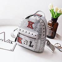 Тренд года! Стильный женский кожаный рюкзак с пайетками и нашивками буквами серебро серебряный