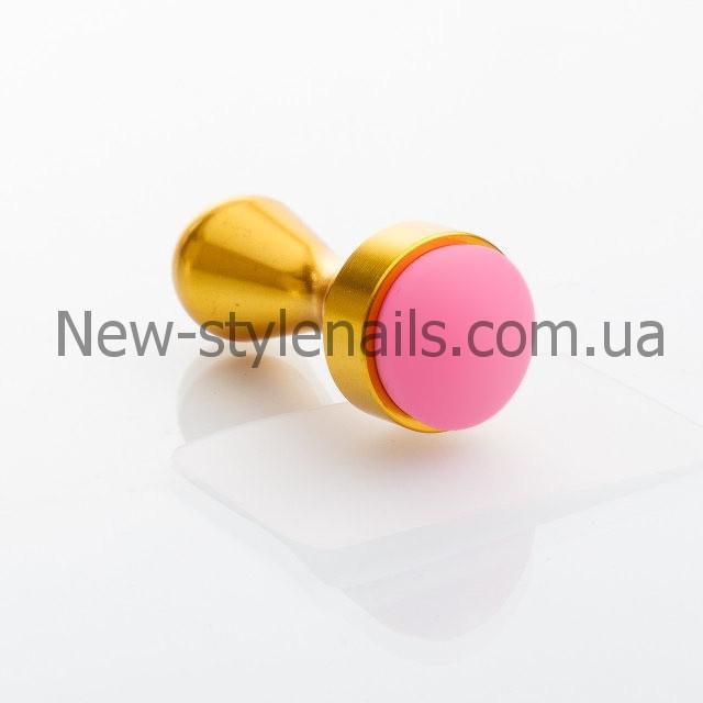 Штамп для стемпинга с металлической рукояткой, серебро и золото