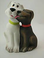 Керамическое изделие из глины ручной работы Статуэтка Собака он и она 13х17 см