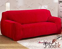 Чехол на диван HomyTex универсальный эластичный замш 3-х местный, Красный