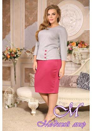 Красивый юбочный костюм большого размера (р. 48-90) арт. Парцеляна, фото 2