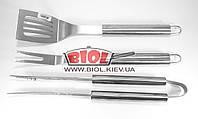 Набор инструментов для барбекю (3 пр. d-41см) - щипцы, лопатка, вилка для мяса из нержавейки Empire EM-0110