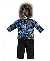 """Зимний костюм для мальчика """"Супергерой"""" синий. Размер 80/86 (1-2 года)"""