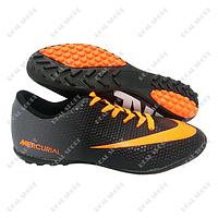 Обувь футбольная бампы (сороконожки) Nike Mercurial Black FB180013 (р-р 40-44, черно-серый)