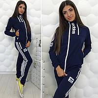 Женский спортивный костюм штаны с длинной кофтой Adidas синий 42-44 44-46 больших размеров батал 48-50 52-54, фото 1