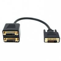 Кабель видео Splitter на 2 DVI монитора (DVI M (24+1) -> 2xDVI F (24+1) 30см) gold