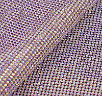 Стразовая термоткань Crystal АВ. Размер страз SS8 (2,1-2,3 мм). Цена за отрез 1х24 см