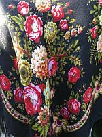 Хустина українська чорна з орнаментом квітів 100*100 см