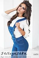 Джинсовый костюм комбинезон с кофтой голубой