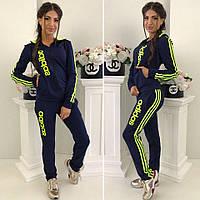 Женский спортивный костюм штаны кофта с капюшоном Adidas синий 42-44 44-46 больших размеров батал 48-50 52-54, фото 1