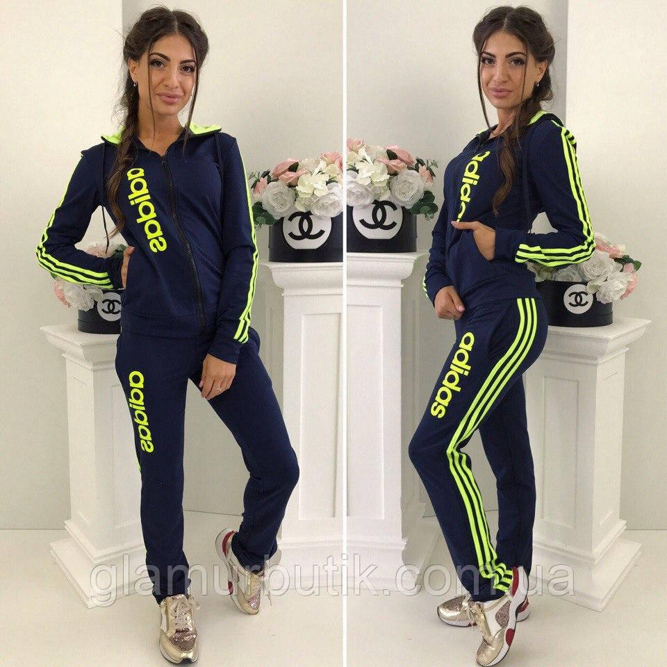 Женский спортивный костюм штаны кофта с капюшоном Adidas синий 42-44 44-46  больших 18a490ac505