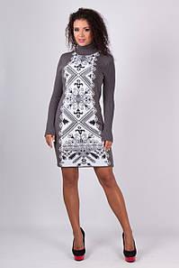 Вязаное нежное платье Ольга графит - белый