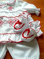Вишитий хрестильний набір для дівчинки | Вишиванка для новонароджених 56, 62, 68, 74  | Крестильное платье