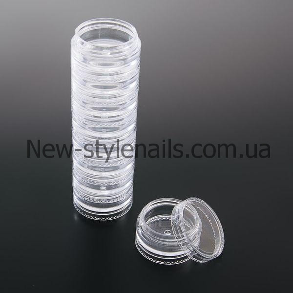 Баночки-закрутки пластиковые ,(столбик) 5 штук/уп.
