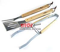 Набор инструментов для барбекю (3 пр. d-38см) - щипцы, лопатка, вилка для мяса из нержавейки Stenson MH-0166