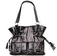 Женская сумка из кожи морской змеи черная