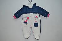 Комбинезон - человечек джинс и велюр для девочки  на махре