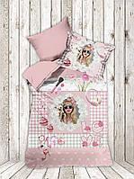 Полуторное постельное белье  сатин 3D  Dantela Vita  Pinc Love