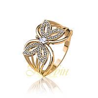 Золотое кольцо бабочка с фианитами. ГП10415