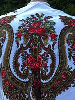 Хустина біла святкова українська з квітами та орнаментом 80*80 см