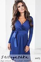 Шикарное шелковое платье синее