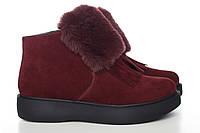 Бордовые замшевые ботиночки с мехом  0515-14