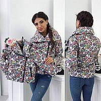 Family look! Демисезонная женская и детская куртка косуха с цветочным принтом 42-44 44-46