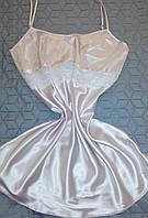 Сорочка атласная цвет пудра