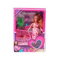 Кукла 1807-02 (48шт) беременная,27см,пупс5см,кроватка,коляска,шлем,бутылоч,3вида,в кор-ке,33-23-7см